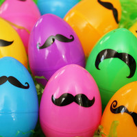 Mustache Easter Eggs - Basket Fillers - Easter Holiday Decor - Candy Holders - Set of 12