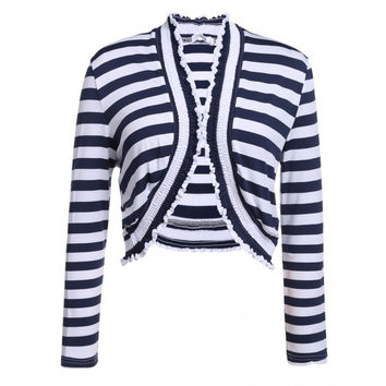 Casual Collarless Long Sleeve Plus Size Striped Pleated Shrug Knit Cardigan