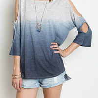 Cold Shoulder Ombre Tee