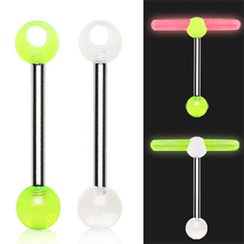 316L Surgical Steel Barbell with a UV Coated Acrylic Glowstick Holder