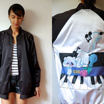 Vtg Piano Kitty Print Black Zip Up Retro Jacket