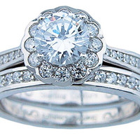 Women's Cz Round Cut Halo Wedding Ring Set Sterling Silver