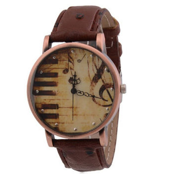 Women's Retro Music Notes Piano Leather Band Strap Wrist Watch Brown+ Gift Box