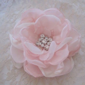 Light Pink with Ivory Wedding Flower  Hair Clip Bridesmaid Mother of the Bride Prom with Rhinestone Accent