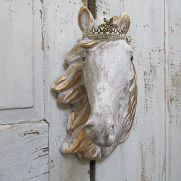 Crowned horse head wall mount sculpture Large cement French Nordic detailed hanging plaque home decor Anita Spero Design