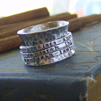 Hand stamped Tripple band sterling silver by cinnamonsticks