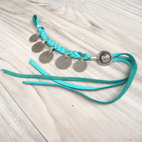 Gypsy Coin Bracelet or Anklet, Turquoise Buckskin Leather, Adjustable, Tribal, Belly Dance