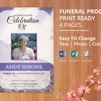 Printable Funeral program template, memorial obituary template, Editable With Microsoft Word, Publisher and Mac Pages, Instant Download-EF02