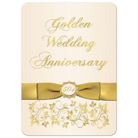 50th Wedding Anniversary Invitation | Ivory and Gold Floral | PRINTED BOW
