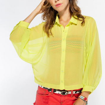 Sheer Neon Yellow Button Up Blouse with Draped Sleeves