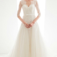 Half Sleeves Lace Wedding Dress with Floor Train 16780