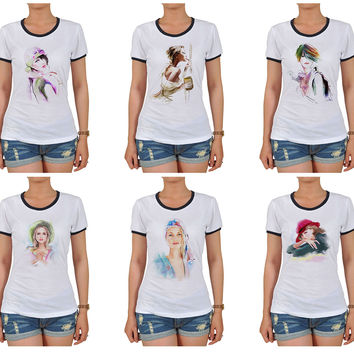 Women Potrait painting Graphic Printed Short Sleeves T-shirt WTS_06