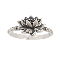 Detailed Lotus Ring in Sterling Silver, #7428S