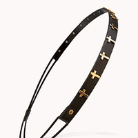 Faux Leather Cross Headband