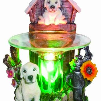 White Puppy Dogs Table Fragrance Aroma Lamp Oil Diffuser Wax Tart Candle Warmer Burner Home Decor