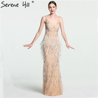 Sexy Deep V Mermaid Gold Tulle Evening Dresses Newest Beading Sequined Luxury Evening Gown