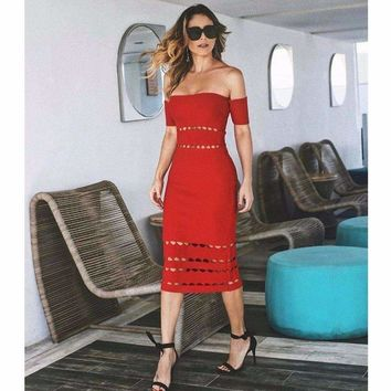 New Dress Black Red Lace Hollow Strapless Fashion Casual Cocktail Party Bandage Dress (H2087)