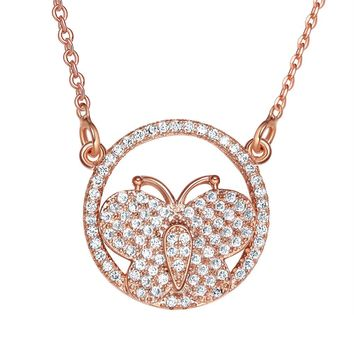 Fancy Magical Eternity Circle Butterfly Lucky Charm Gold-Tone White Sparkling Crystals Necklace