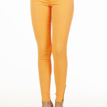 Orange Ankle Zipper Skinny Jeans
