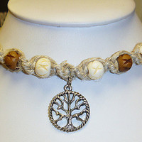 Bone Forest  Tree  of Life Hemp Necklace    wicca  hippie NEW