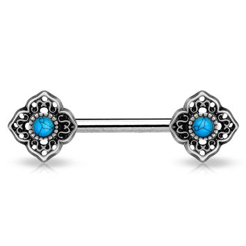 Turquoise Centered Tribal Flower Ends Silver Single Surgical Steel Nipple Barbells