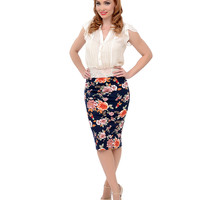 Navy & Rose Floral High Waisted Knit Fitted Pencil Skirt