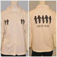 "Vintage 1990's Line Dancing Polo Shirt with Button Front ""Liner-Cise Troupe"" Cowboy Cowgirl Top Short Sleeve Women's Size Medium Off-White"