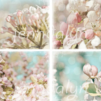 Arabesque - FOUR PHOTO SET, baby pink, pastel colors, shabby chic home decor, cherry blossom art,  photography set, discount sale