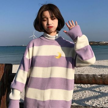 Korean Stripes Moon Women Knit Sweater Harajuku Preppy Kawaii Ulzzang Female Sweaters Autumn Japanese Long Sleeve Warm Pullovers