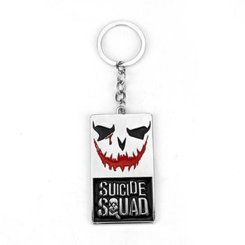 Movie Suicide Squad Hero Character Joker Face Keychain Clown Jewelry For Women Men Puddin Freaky Task Force Letter Keychain