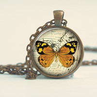 Pendant with Chain - Yellow and orange Butterfly