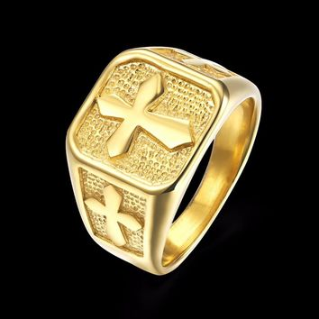 Titanium Stainless Steel Knight Templar Cross Men Rings Gold Color Punk Rock Hip Hop Wedding Band Biker Male Ring Classic DCR029