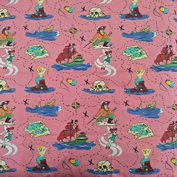 140X100cm 50s Vintage Pink Pirate Mermaid Print Cotton Poplin Fabric for Dress Sewing Patchwork DIY-AF072