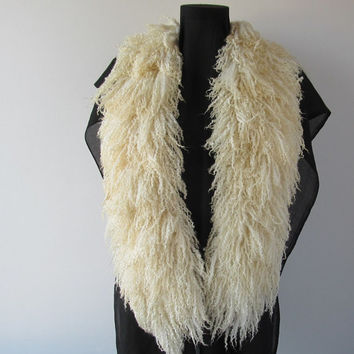 Felt Fur Curly Scarf White Hand Felted Pure Real Wool Blue faced leicester Fleece by Galafilc Stunning