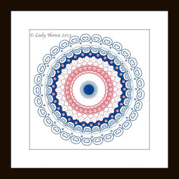 "Navy and Coral kaleidoscope geometric print, home decor wall art, modern mandala, dorm decor poster, geometrical poster, 8"" X 8"" print"