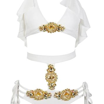 Taking It Back White Embellished Jeweled High Waist Cut Out Ruffled Halter Bikini Two Piece Swimsuit
