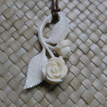 Rose Bone Pendant for necklace, Bali Bone Carving, unique handmade jewelry from Bali
