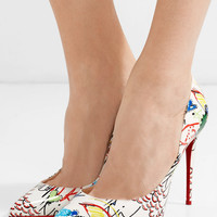 Christian Louboutin - Pigalle 100 printed patent-leather pumps