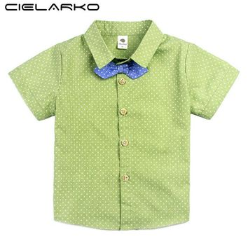 Cielarko Boys Blouse Brand Cotton Polka Dot School Shirt for Baby Boy Children Top Tees Summer Clothing for Kids