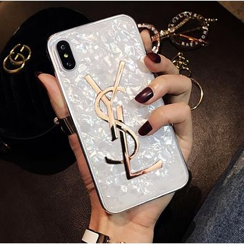 YSL Trending Women Stylish Personality Soft Silicone Phone Cover Case For iphone 6 6s 6plus 6s-plus 7 7plus 8 8plus X White I13476-1