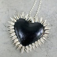 Handmade Gifts | Independent Design | Vintage Goods Double Row Spiked Heart Necklace - HAPPY HALLOWEEN!