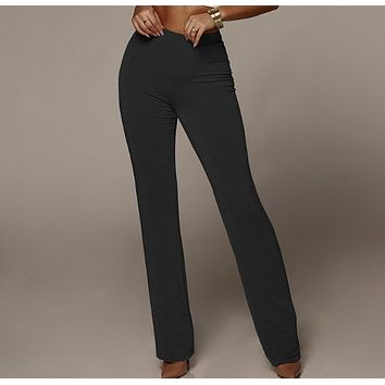 New sexy bag hip bell pants high waist gold wire straight pants women's clothing