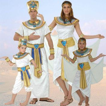 DCCKH6B Women Men Costume Egypt Queen Costumes Princess Royal Golden Masquerade theme Party adult halloween cosplay kids child clothing