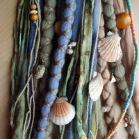 Custom Mermaid Wool Dreads with X-Cross Wrap & Beads Bohemian Hippie Dreadlocks Tribal Falls Boho Extensions Under Water Sea Ocean Shells