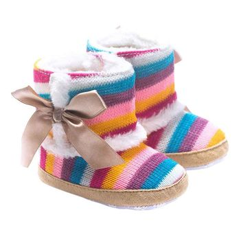 Fashion Online Colorful Rainbow Design Winner Baby Shoes Girl Soft Sole Snow Boots Soft Crib Shoes Toddler Boots For 0-18months