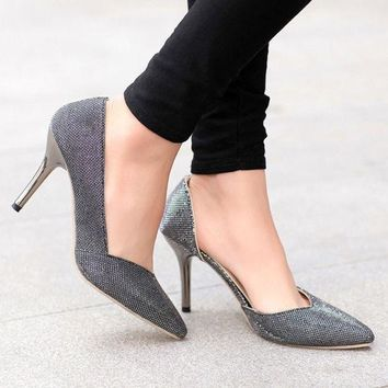 ESBONG Silver High Heel Korean Hollow Out Club Pointed Toe Shoes [9432945226]