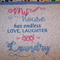 "Laundry Joke, Embroidered pocket, Couch Pillow Cover.  16"" X 16"""