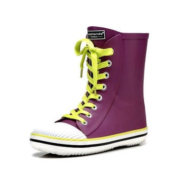 New Arrival High Quality Women Rubber Rain Boots Candy color Handsome Lace-up Waterproof Ladies Martin Boots For Rainy Day = 1958669380