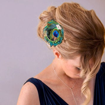 Bridesmaid Hair Accessories, Peacock Feather Hair Clip, Bridal Head Piece, Peacock Sword, Vintage Jewel - Made to Order - SANDY