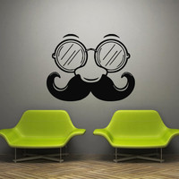 Wall decal decor decals art mustache glasses nose face funny movie film hipster (m522)